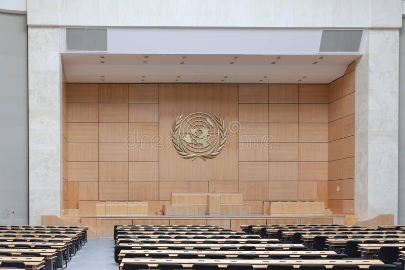 Assembly Hall in UN Geneva royalty free stock photography