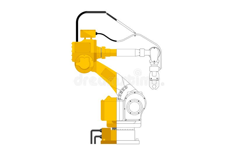 Assembly handling robot. In draft and design isolated on white background. Vector illustration EPS 10 stock illustration