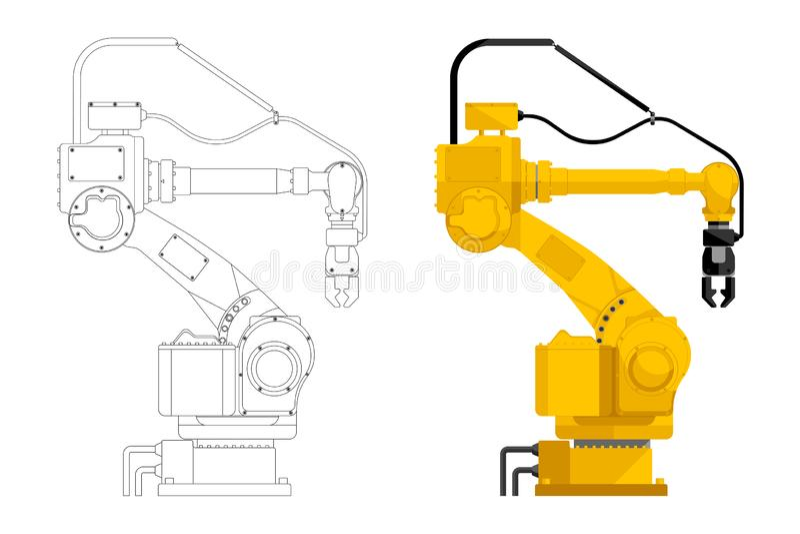 Assembly handling robot. Set of assembly handling robot in draft and design isolated on white background. Vector illustration EPS 10 stock illustration