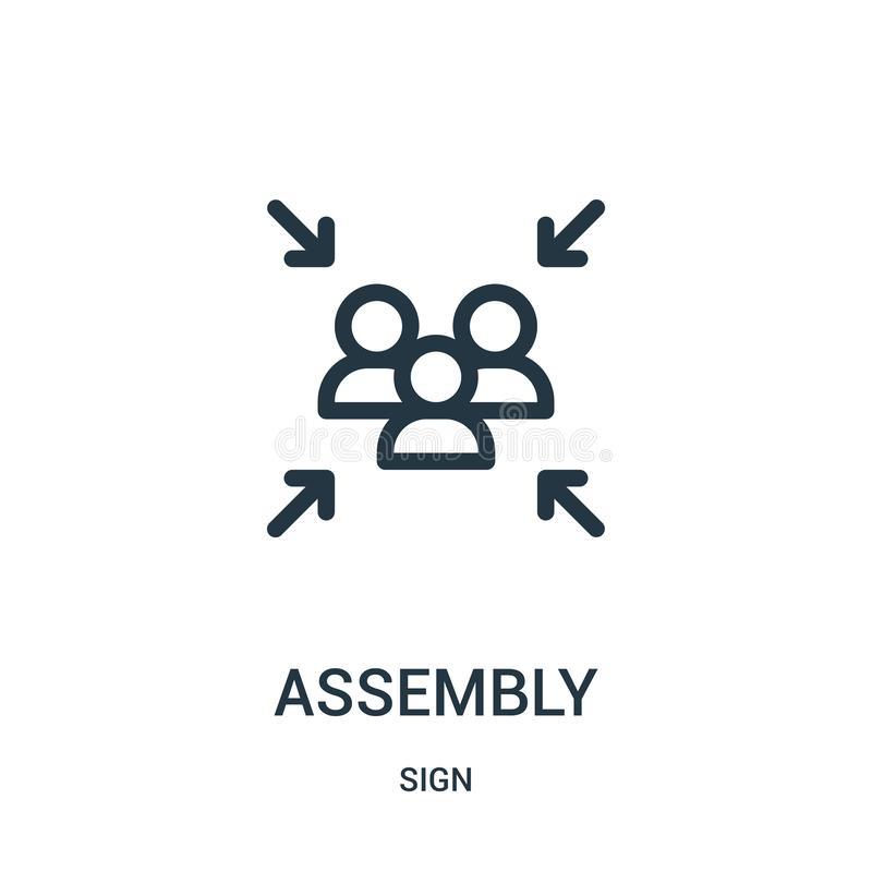 assembly icon vector from sign collection. Thin line assembly outline icon vector illustration vector illustration