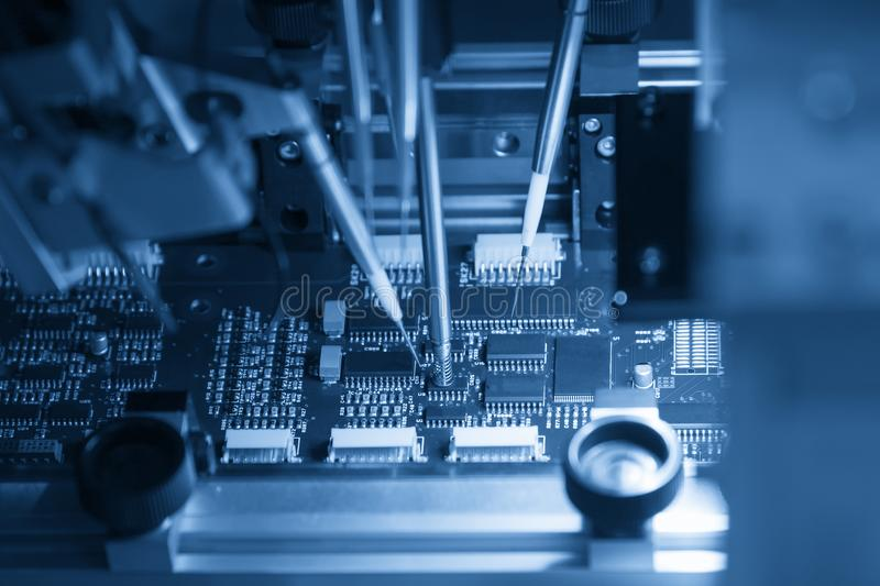 The assembly line process of micro processor board. Computer board manufacturing process stock image