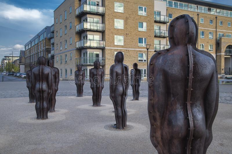 Group sculpture in the Woolwich Arsenal by Peter Burke royalty free stock photo