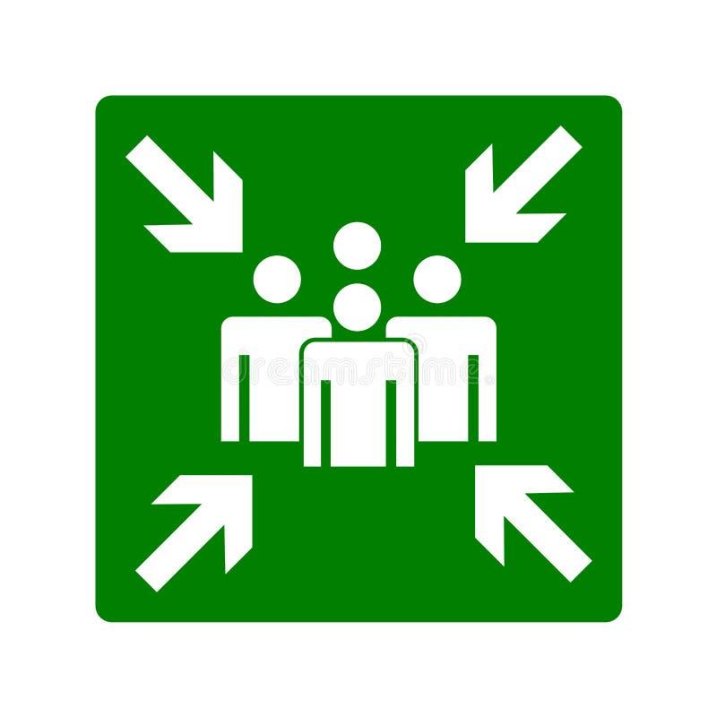 Assembly point sign illustration royalty free illustration