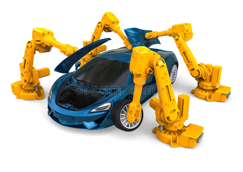 Assembly Robots. 3D render image representing a 4 robots assembling a car vector illustration