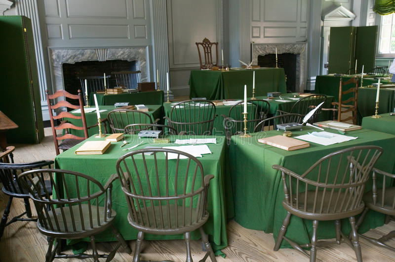 The Assembly Room where Declaration of Independence and U.S. Constitution were signed in Independence Hall, Philadelphia stock photos