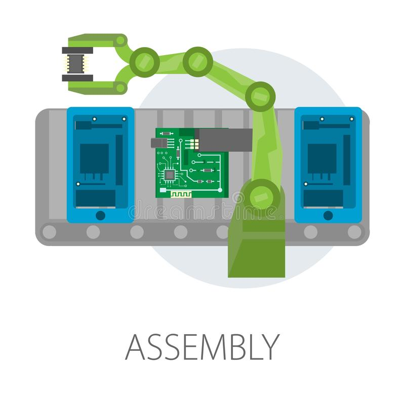 Assembly smartphone internal structure microscheme modern technology development. Smartphone internal structure assembly vector isolated icon microscheme vector illustration