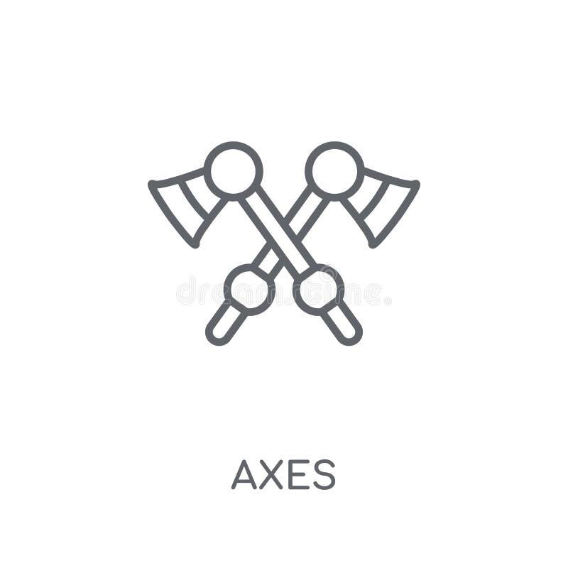 Assen lineair pictogram Modern het embleemconcept van overzichtsassen op witte rug stock illustratie