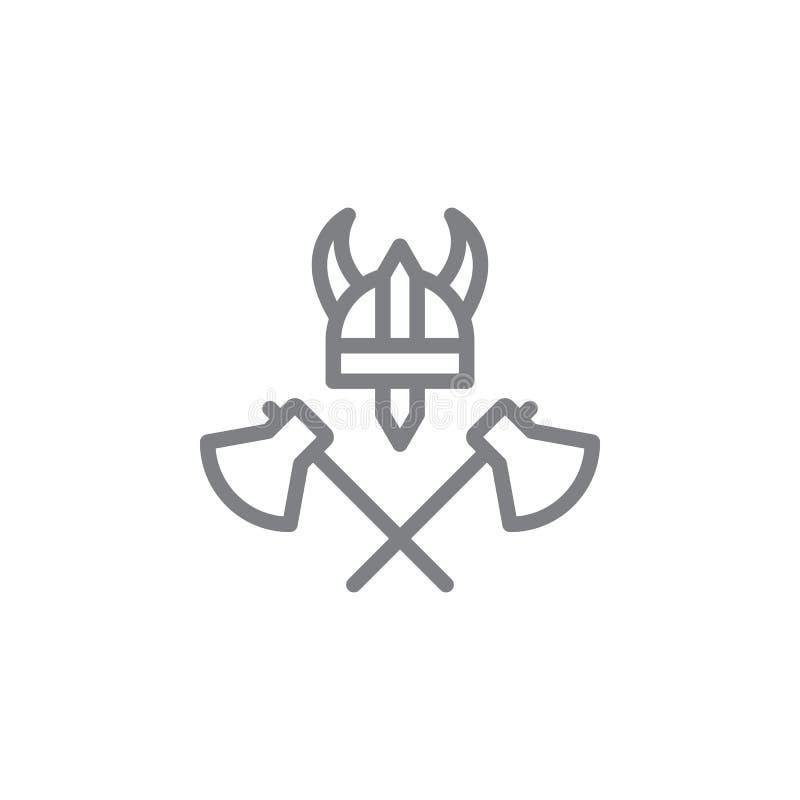assen, Viking, hoedenpictogram Element van myphologypictogram Dun lijnpictogram voor websiteontwerp en ontwikkeling, app ontwikke royalty-vrije illustratie