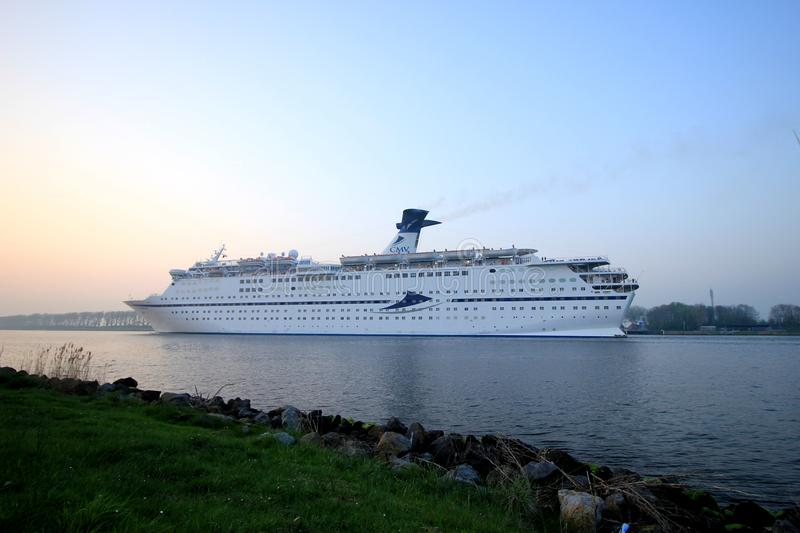 Assendelft, the Netherlands - April, 20 2018: MS Magellan. In North Sea Canal near Buitenhuizen. Operated by Cruise & Maritime Voyages stock photography