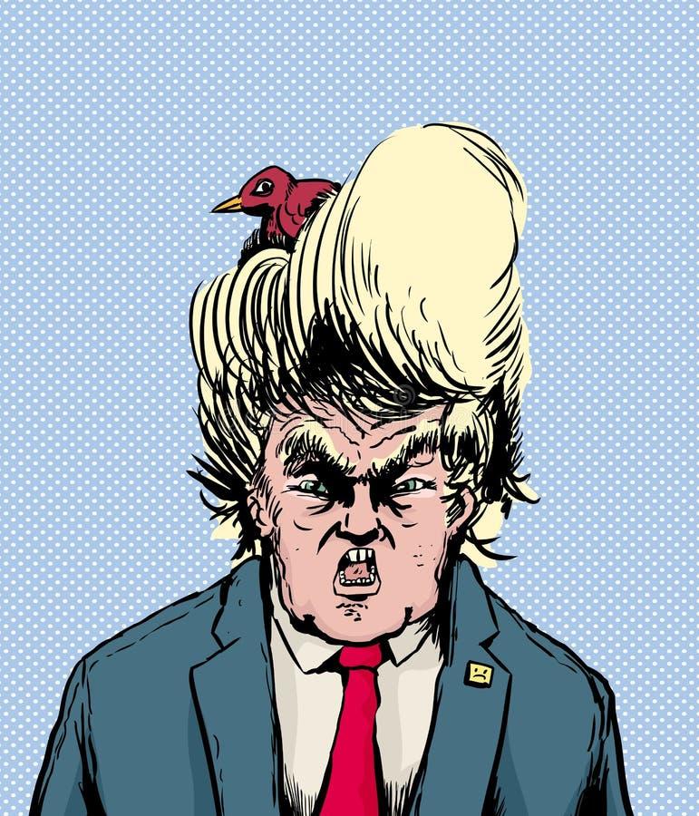 Assentamento do pássaro em Donald Trump Hairdo ilustração royalty free