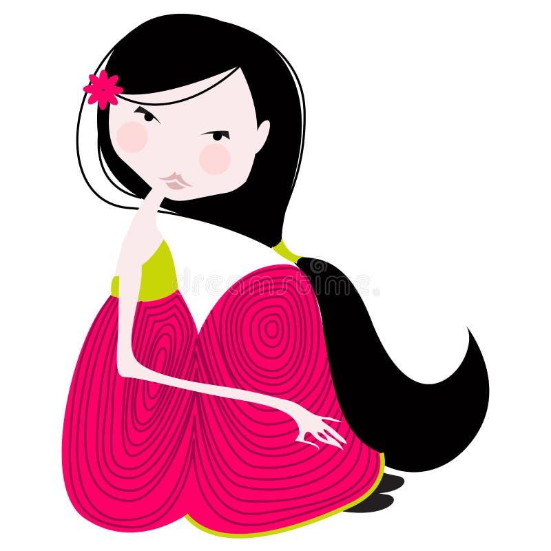 Assento bonito da menina ilustração royalty free