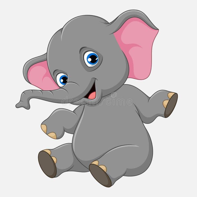 Assento bonito do elefante do bebê isolado no fundo branco ilustração do vetor