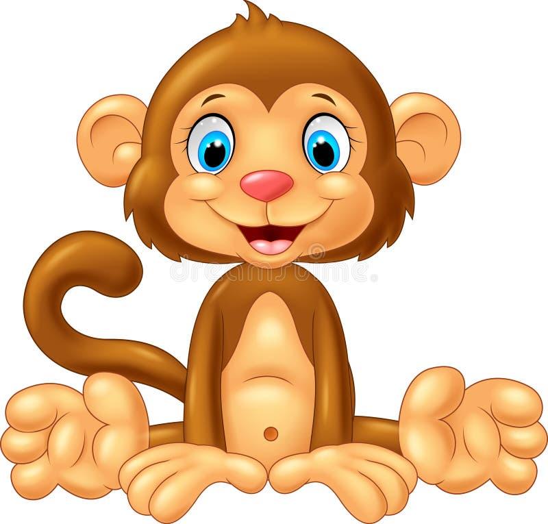 Assento bonito do macaco dos desenhos animados ilustração stock