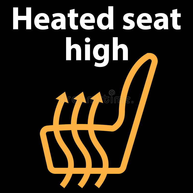 Assento caloroso alto, botão, ícone, ícone do painel, ilustração na cor alaranjada, conjunto do vetor do instrumento - erro do có ilustração stock