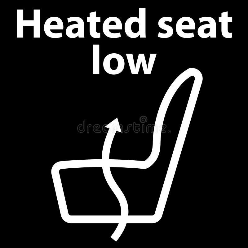 Assento caloroso baixo, botão, ícone, ícone do painel, ilustração na cor branca, conjunto do instrumento - erro do código do dtc  ilustração stock