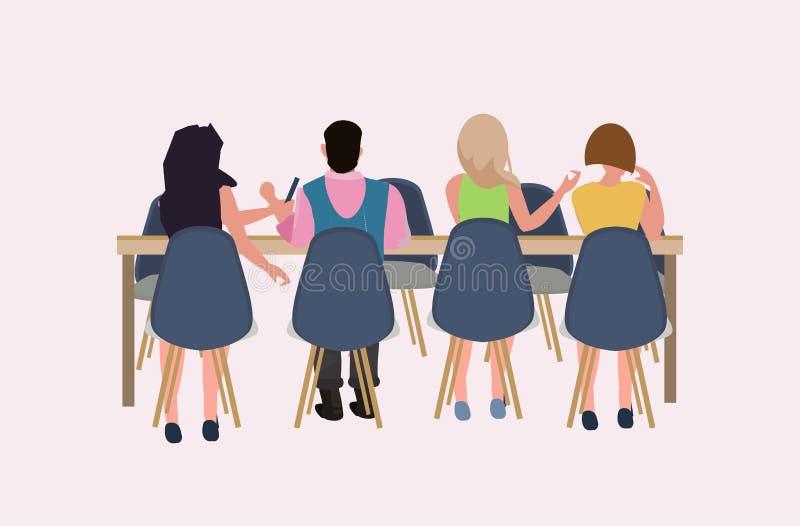 Assento da equipe dos empresários nos executivos da mesa redonda da conferência que conceituam o conceito dos trabalhos de equipe ilustração stock