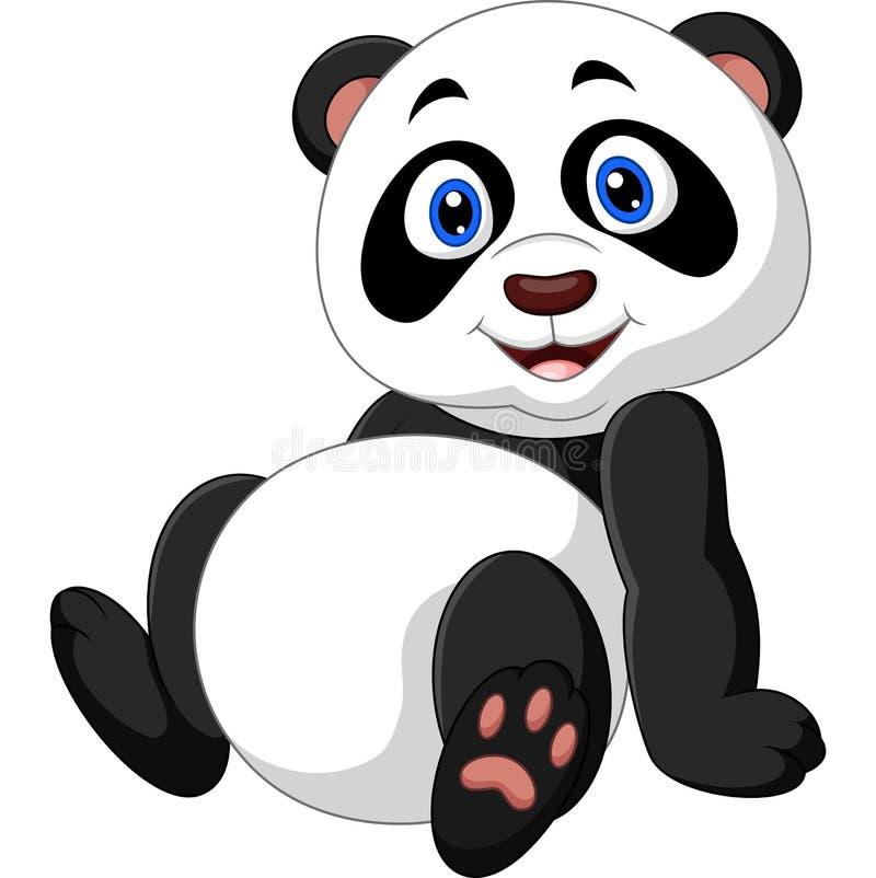 Assento da panda dos desenhos animados ilustração stock