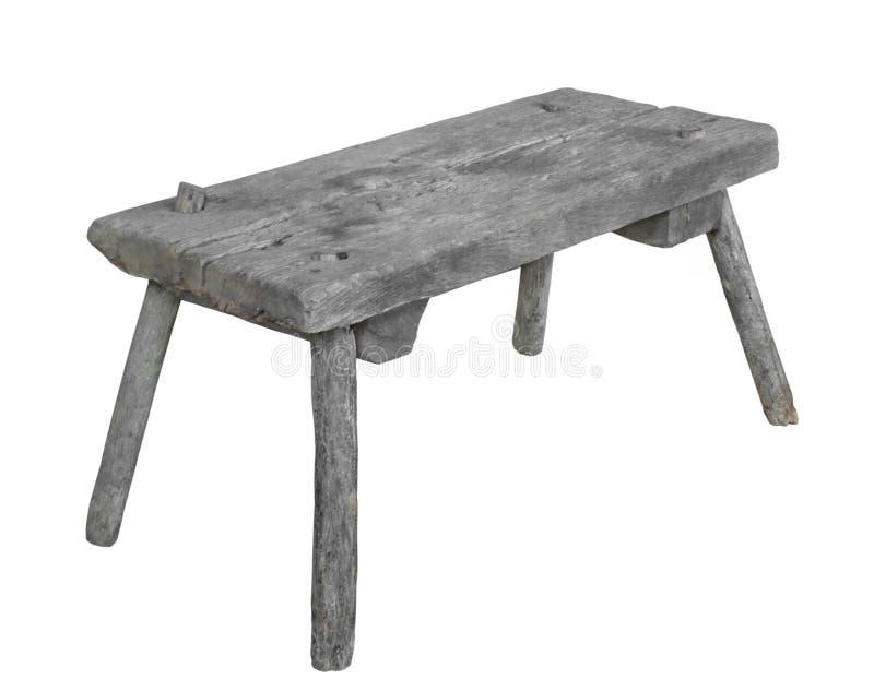 Assento de madeira rústico velho isolado fotos de stock