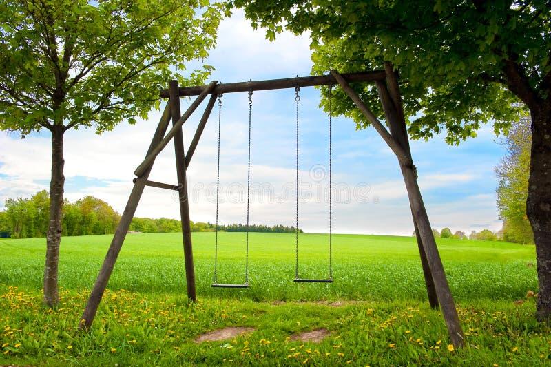 Assento do balanço em um campo do verão fotos de stock royalty free