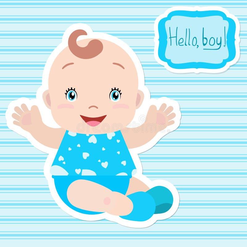 Assento do bebê, da terra arrendada mãos para fora, sorrindo ilustração stock
