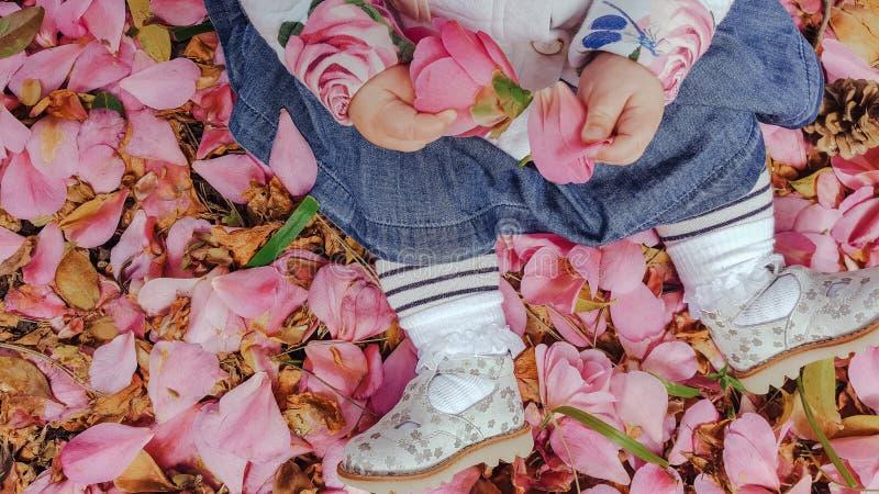 Assento do bebê da vista superior na terra coberta nas pétalas cor-de-rosa, em calças justas listrados, saia azul e sapatas de pr imagens de stock royalty free