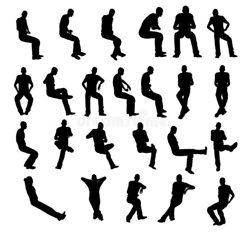 Download Assento Do Homem Da Silhueta Ilustração Stock - Ilustração de homem, assento: 16852149