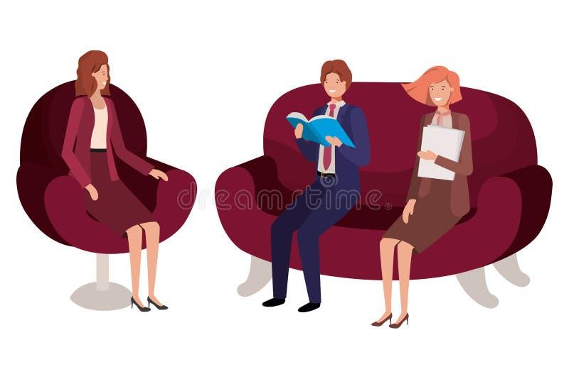 Assento do negócio do grupo de pessoas no caráter do avatar das cadeiras ilustração do vetor