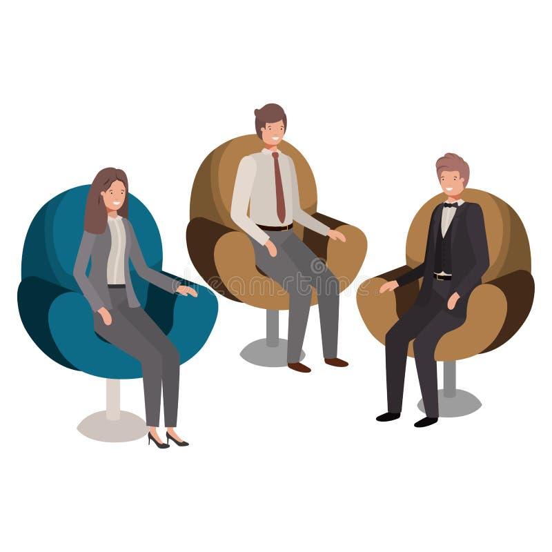 Assento do negócio do grupo de pessoas no caráter do avatar das cadeiras ilustração royalty free
