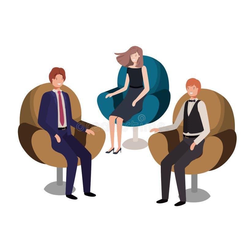Assento do negócio do grupo de pessoas no caráter do avatar das cadeiras ilustração stock