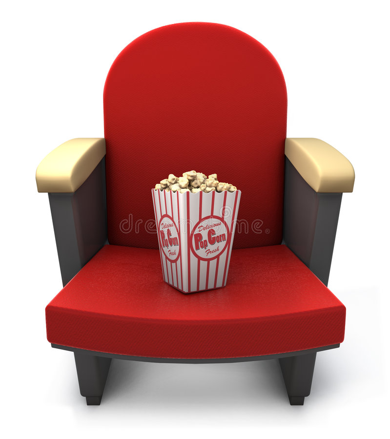 Assento do teatro com pacote da pipoca ilustração do vetor