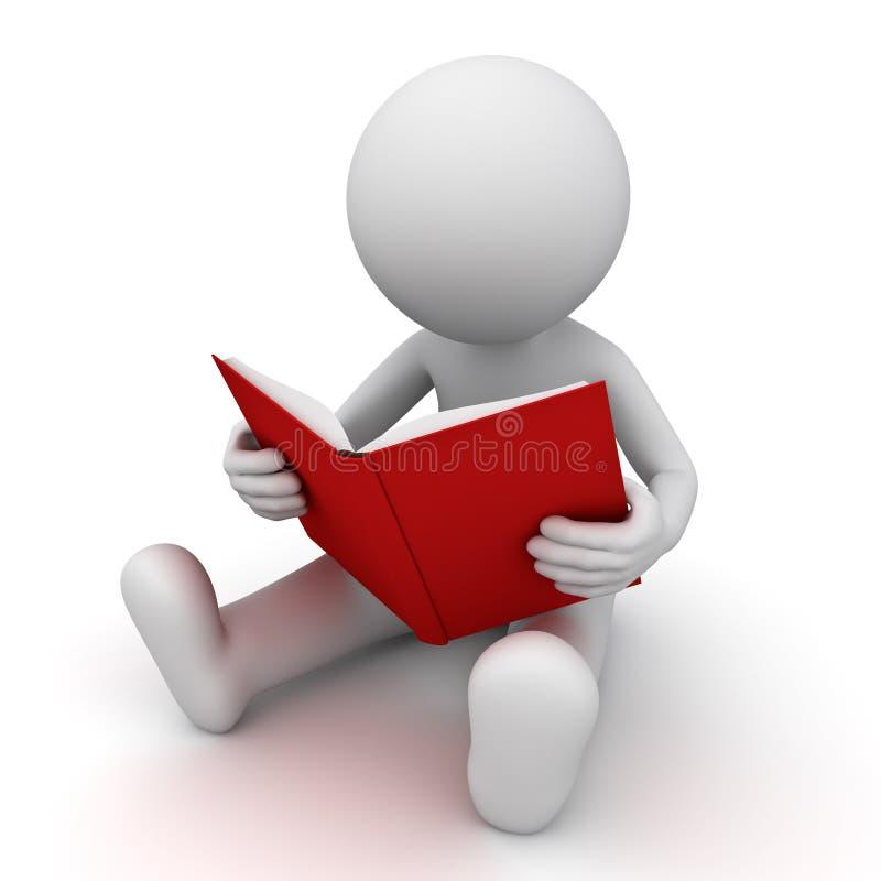assento e leitura do homem 3d um livro vermelho ilustração royalty free