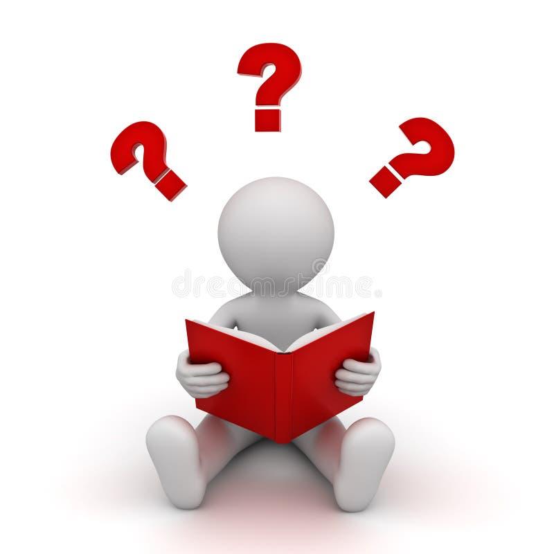 assento e leitura do homem 3d um livro vermelho com pontos de interrogação sobre o branco ilustração stock