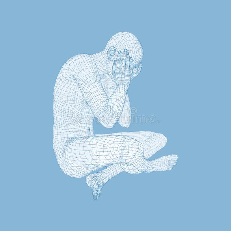 Assento e pensamento deprimidos miser?veis do homem Homem em uma pose do pensador modelo 3D do homem Ilustra??o do vetor ilustração do vetor