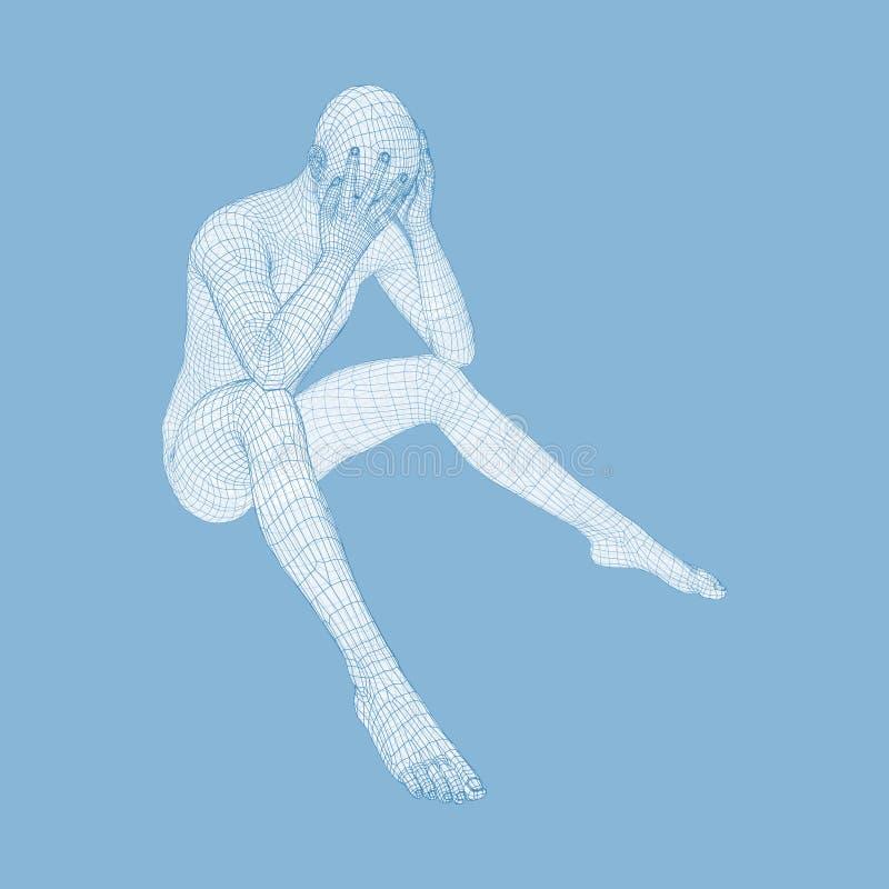 Assento e pensamento deprimidos miser?veis do homem modelo 3D do homem ilustração do vetor