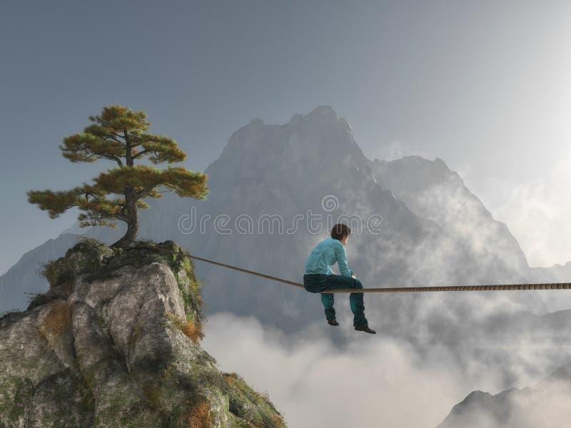 Assento em uma corda ilustração royalty free