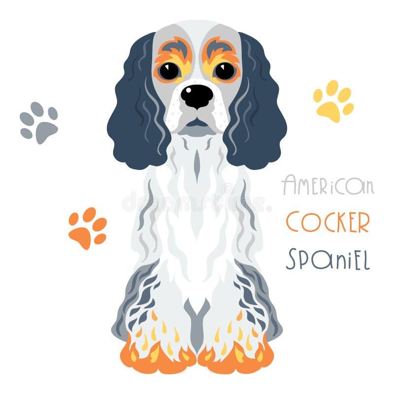 Assento engraçado do cão de cocker spaniel do americano do vetor ilustração do vetor