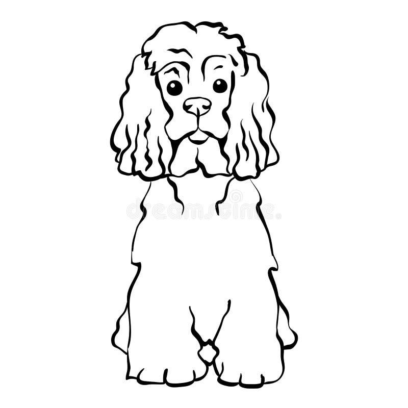 Assento engraçado do cão do esboço do vetor ilustração royalty free