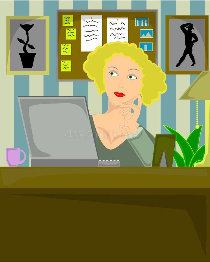 Assento fêmea louro no escritório home ilustração stock