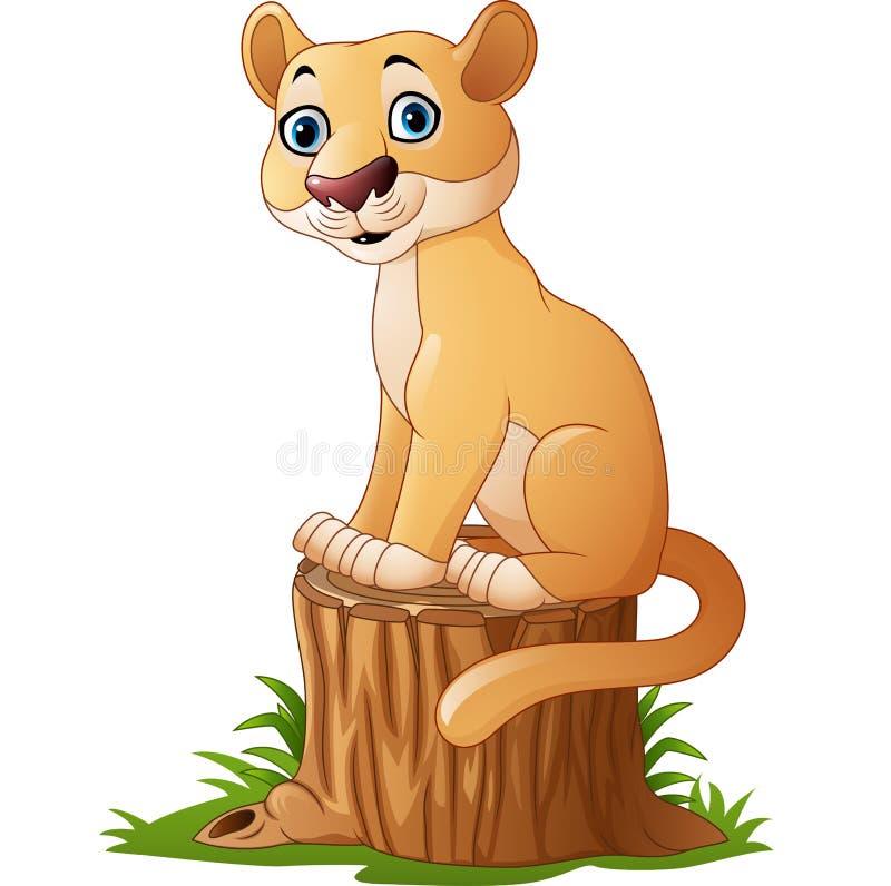 Assento felino dos desenhos animados no coto de árvore ilustração do vetor