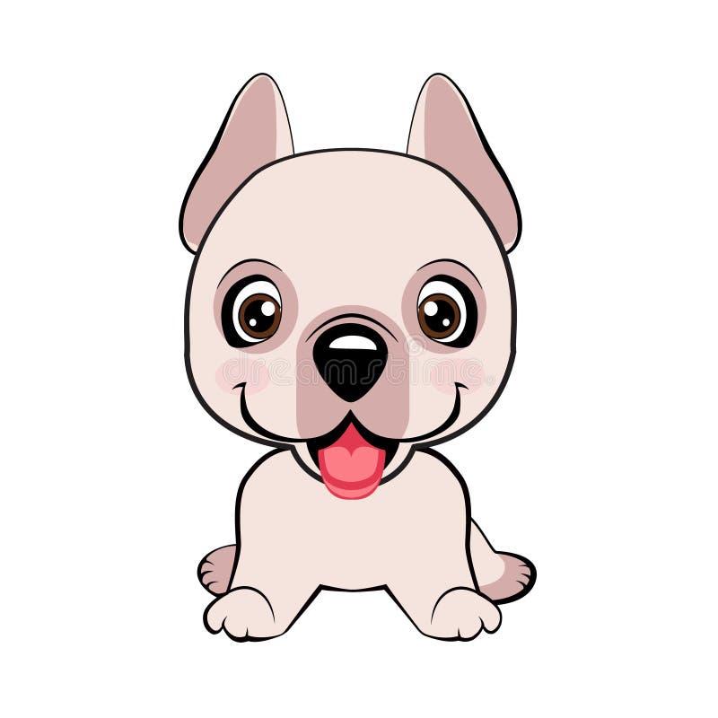 Assento feliz do cachorrinho dos desenhos animados, amigo do cão Ilustração do vetor Isolado no fundo branco ilustração stock