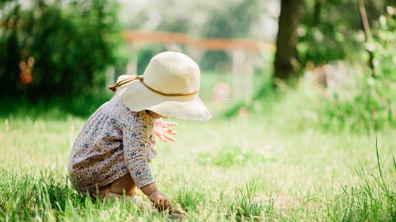 Assento na grama - dia do bebê de verão da infância, chapéu de palha, espaço da cópia foto de stock