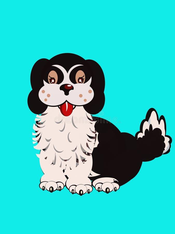 Assento preto e branco do cão imagem de stock royalty free
