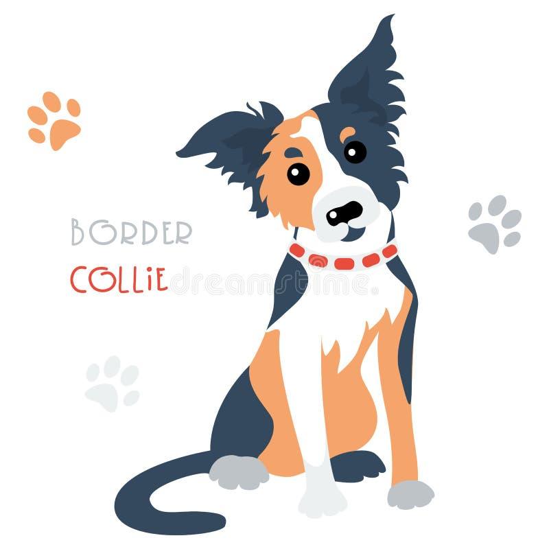 Assento tricoloured border collie engraçado do cão do vetor ilustração royalty free