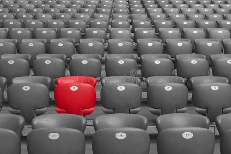 Assento vermelho do estádio fotos de stock royalty free