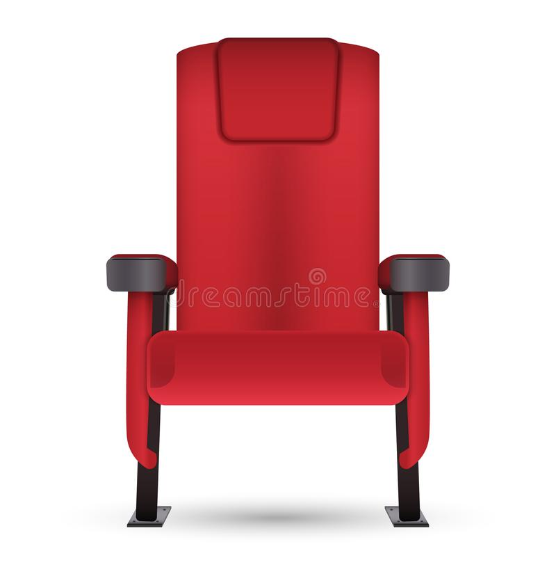 Assento vermelho realístico do cinema do cinema isolado no backgr branco ilustração royalty free