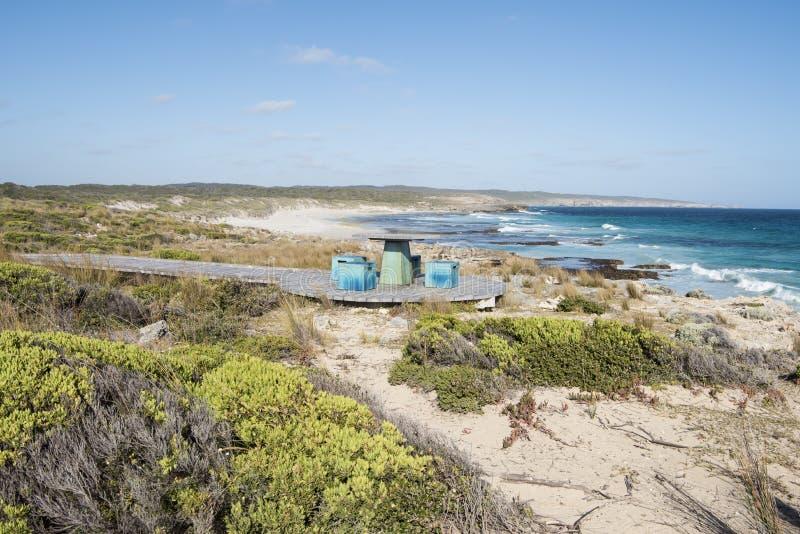 Assentos na praia, ilha do canguru, Austrália imagem de stock