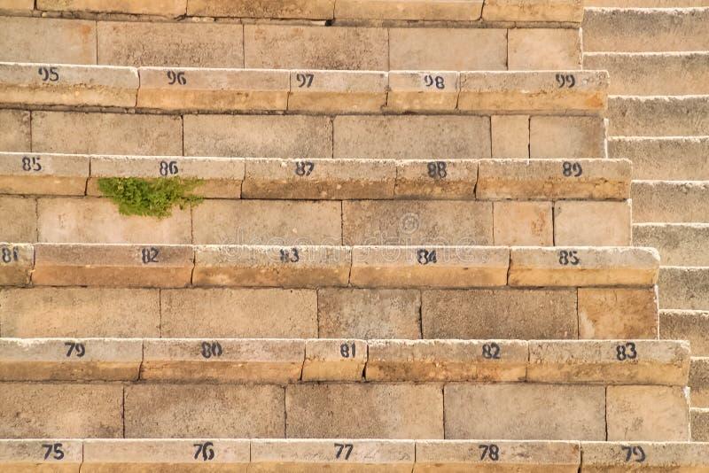 Assentos numerados no teatro reconstru?do da fortaleza de Herod em Caesarea imagens de stock royalty free