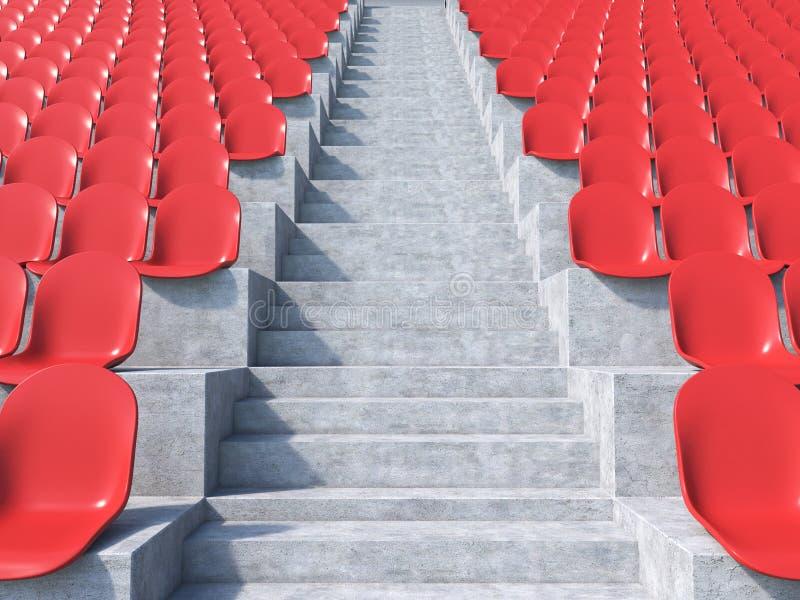 Assentos plásticos vermelhos ilustração stock