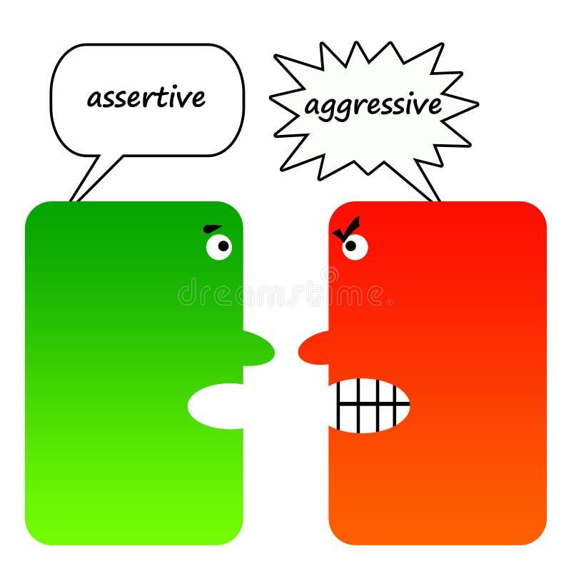 Assertief tegenover agressief vector illustratie