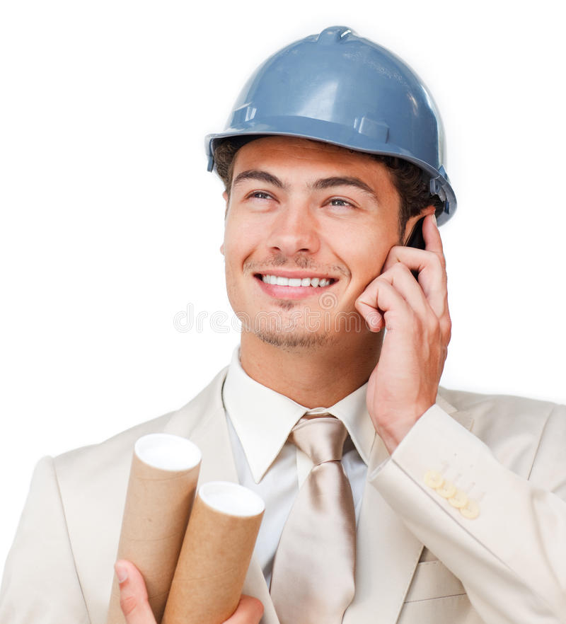 Download Assertive Young Architect On Phone Stock Photo - Image of engineering, businesspeople: 12217364